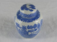 Vintage Japanese Pagoda & Village Scene Porcelain Ceramic Ginger Jar Japan