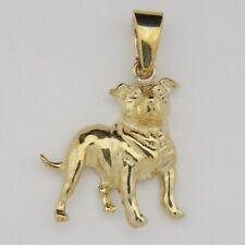 Staffordshire Bull Terrier Pendant - 9ct Yellow Gold - 26x25mm