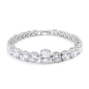 "Womens Fashion Jewelry Simulated White Diamond Silver tone Bracelet 7.5"""
