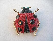 Glitzy & Grueso Rojo Y Negro Cristal Ladybird Broche