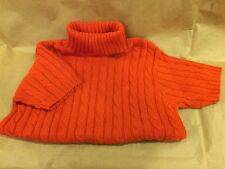 LILLY PULITZER Orange Red Turtle Neck Sweater Sz M ShoRt Sleeves 100% Cotton