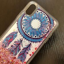 """For iPhone XR (6.1"""") - Floating Waterfall Glitter Pink Liquid Case Dreamcatcher"""