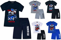 Boys Summer Short Sleeve T-shirt Top and Shorts Set Cars Kids New Age 2-10 Years