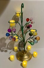 Hand-painted  Iron Floral Crystal Tea Candle Holder With Tea Lights