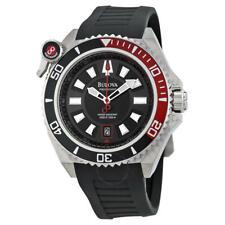 New Bulova Men's 98B166 Precisionist Catamount Black Dial Rubber Strap Watch