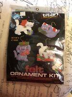 1985\u2013Titan Needlecraft\u2014Jeweled Felt Ornament Kit\u2014Set Of 4\u2013Teddy Bears With Geese\u2014Sequins /& Beads