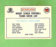 1975  SOUTH SYDNEY RUGBY LEAGUE CHECKLIST CARD, UNCHECKED BUT DIRTY BACK