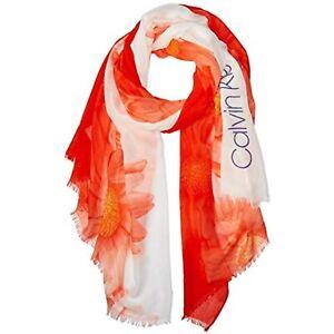 MSRP $44 Calvin Klein Women's Ombre Daisy Pareo Tangerine Orange One Size