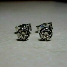 New Halo Diamond 9ct White Gold Stud Earrings £90 or Best Offer Freepost