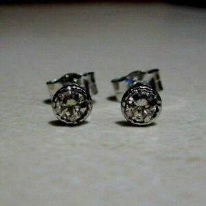 New Halo Diamond 18ct White Gold Stud Earrings £150 or Best Offer Freepost