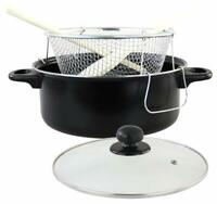Non Stick Chip Frying Pan Set Deep Fat Fryer Basket Pot W Glass Lid & Utensils