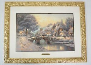 NEW Thomas Kinkade Cobblestone Christmas Cobblestone Lane VI Framed LE Print