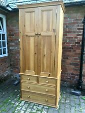 Fabulous Large Solid Pine Double Door Wardrobe with Drawers