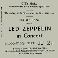 Led Zeppelin Concert Coasters Ticket November 1971 High quality Coaster
