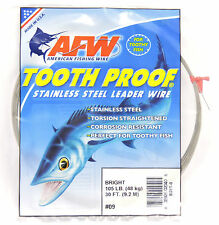105lb AFW TOOTH PROOF SINGLE STRAND STAINLESS STEEL LEADER FISHING WIRE TRACE BR