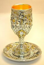 Great For Gift Shabbat Kiddush Cup & Plate In Gold & Silver Plated