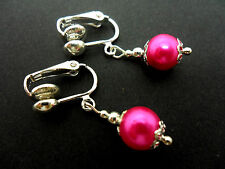 A PAIR OF SHORT HOT PINK  GLASS   PEARL  CLIP ON EARRINGS. NEW. 8MM.