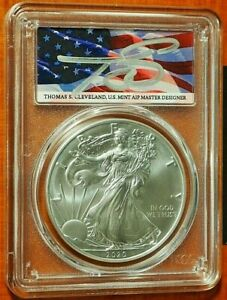 2020 $1 Silver Eagle PCGS MS 70 FDOI - Cleveland Flag