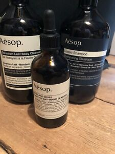 Aesop Geranium Body Wash & Classic Shampoo & Poo drops *empty bottles
