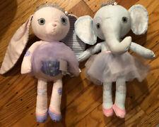"""New listing (2) Zapf Creation Mooshka Fairy Tales Ballerina Bunny & Elephant Dolls 11"""""""