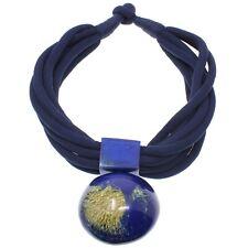 Tribal statement fashion jewellery on large blue pendant fabric choker necklace