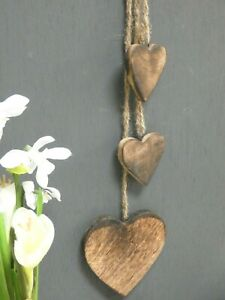 Cluster Of Hanging Hanging wooden  Hearts - 45 cm