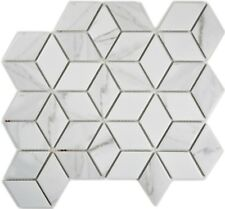MOSAIC tile ceramic white diamond POV Carrara kitchen wall 13-0102_b | 1 sheet