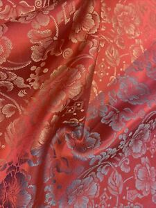 "Pure 100% Silk Heavy Jacquard Brocade Fabric Remnant 22"" Wide 24""Long Korean"