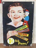 """VINTAGE """"THE GOUDEY GUM CO.'' IT'S PURE PORCELAIN DEALER SIGN 11X16.5 BEAUTIFUL!"""