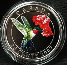 2007 Canada 25 cent Coloured Coin - Ruby-throated Hummingbird
