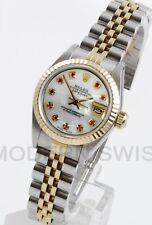 Rolex Ladies Datejust Gold & Steel MOP Ruby Diamond Dial Jubilee 2Tone Perpetual