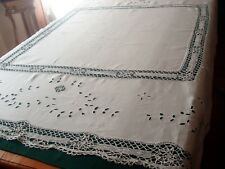 Glorious Antique Linen And Lace Tablecloth