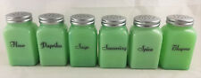 6 Pc Jadite Green Glass Roman Arch Pattern Spice Jar Jadeite Shakers Set # B