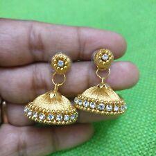 golden silk thread stone Jhumka Jhumki Women Bollywood Dangler Indian earrings