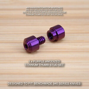 Benchmade 940 Osborne Knife 2 PC Custom Titanium Thumb Stud Set Anodized PURPLE