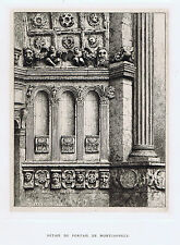 Sculptures of the portal of the Church of Montjavoult  - 1881 Copper Engraving