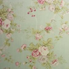 Vintage Style Linen blend FABRIC Rose Flowers Shabby Chic Mint green Home Deco