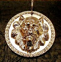 Elvis Presley Style silver and crystal Lion head Pendant