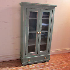 Doll house miniature green wooden display cupboard/dresser with glazed doors