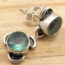 925 Silver Overlay BIRTHDAY PRESENT Jewelry, Real APATITE LITTLE Stud Earrings