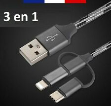 CÂBLE CHARGE USB 3 EN 1 NYLON TRESSÉ 1M POUR IPHONE X 8 7 6 5, MICRO USB, TYPE C