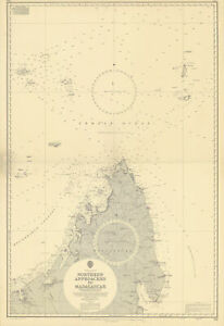Madagascar northern approaches Indian Ocean. ADMIRALTY sea chart 1965 (1968) map