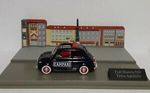 Diorama  Fiat 500 teto apribile . 1/43 neuve en boite vitrine.