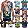 Women/Men's funny T-shirts 3D Print lion tiger Fitness Short Sleeve Casual tops