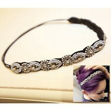 Retro Lady Women Crystal Hairband Elastic Headband Jewelry Headpiece Hair Band