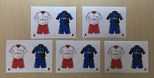 5 x 2er Hamburger SV HSV Aufkleber Sticker Trikot Papier TOPPS Bundesliga