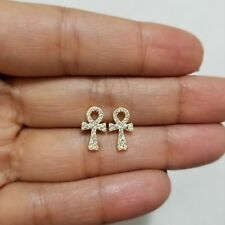 14k Yellow Gold over 925 Sterling Silver Cz  Ankh Cross Post Stud Earrings