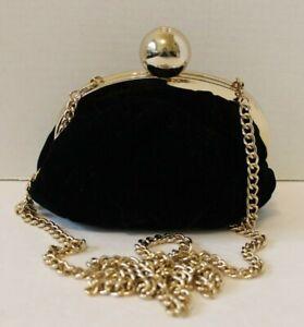 Kate Spade Scottie Deluxe Plush Black Velvet Purse Evening Bag Crossbody Clutch