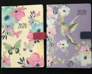2020 A6 Page A Day Diary Organiser - Fabric Finish - Hummingbird Or Butterfly