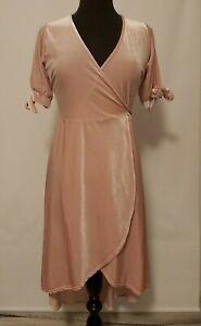 Boohoo Size 10 Dusky Pink Wrap Dress Nwt